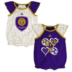 Girls Newborn & Infant Orlando City SC adidas White/Purple Tie-Breaker Two-Pack Bodysuit Set