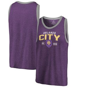 Men's Orlando City SC Fanatics Branded Purple Tri-Blend Tank Top